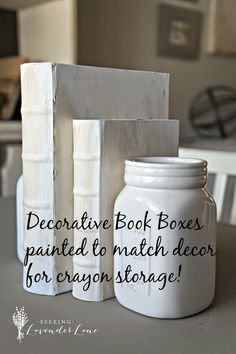 Seeking Lavender Lane: How to Keep a Beautiful Home with Kids. Decorative Book Boxes for Crayon Storage