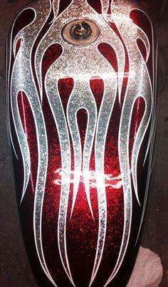 Old School Flame Job Apple Red/Silver (Heavy Flake) - Dallas Airbrush Custom Motorcycle Paint Jobs, Custom Paint Jobs, Custom Art, Air Brush Painting, Car Painting, Custom Street Glide, Pinstripe Art, Pinstriping Designs, Flame Art