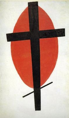 The black cross on a red oval, c.1921 - Kazimir Malevich
