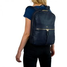 Beaux Leather Backpack in Navy | KNOMO | With an ergonomic padded back-panel and adjustable shoulder straps this leather backpack will always be a comfortable companion