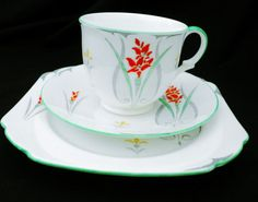 SHELLEY EMPIRE HAND PAINTED TEA CUP AND SAUCER  TRIO  #ShelleychinaWilemanTheFoleychinaENGLAND