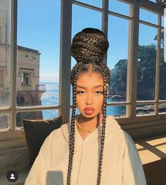 Braided Hairstyles For Black Women, African Braids Hairstyles, Braids For Black Hair, Braids For Black Women Box, Baddie Hairstyles, Girl Hairstyles, Braid Hairstyles, Wedding Hairstyles, Hair Buns