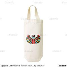 Egyptian Colorful Bold Vibrant Scarab Beetle Zazzle HEART Wine Bag