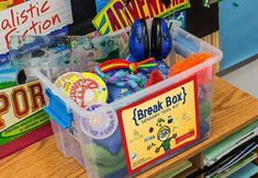A BREAK box is a box choc full of great fidgets, heavy work tools, calming items and much more to awaken, integrate and stimulate the senses. It can be used as a preventative means toward warding off meltdowns or aggression. It can also be used during breaks to re-energize and alert children. Although it is used widely in the classroom, it can also be used in a home, clinic, and waiting room or just about anywhere you find people!