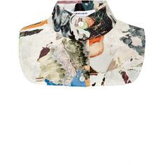 Carven Printed Crepe De Chine Bib (1.565 ARS) ❤ liked on Polyvore featuring accessories, scarves, tops, jewelry and multicolor