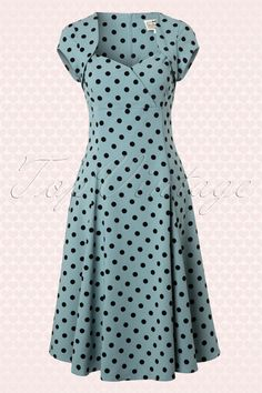 Collectif Clothing - 50s Regina Doll Polka Flock Swing Dress Dusky Blue