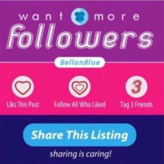 PART 10- LET'S GROW 2GETHER Hello fellow PFFs! Let's help each other grow our followers! Just a few quick steps to get the ball rolling.   FOLLOW ME LIKE this post ❤️FOLLOW all who also liked ‼️INCLUDING ME‼️ TAG 3 friends SHARE! SHARE! & SHARE! COME BACK to check for new followers  THE MORE YOU SHARE, THE MORE FOLLOWERS YOU GAIN! Sharing is caring! Happy Poshing! Bags