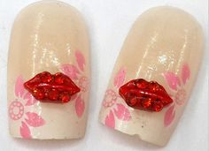 2pc 3D Nail Art Kiss Lips Kissy Lips Nail Gems Nail  Rhinestones  Nail Art Pair Them With Our Great Nail Decals