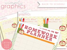 Awesome back to school freebie that includes: A homework planner, Positive Lunch Notes, & Book Inserts.