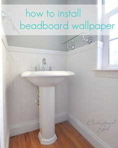 Tutorial for installing beadboard wallpaper.thinking about doing this in my half bath with real beadboard Blue gray Home Design, Design Ideas, How To Install Beadboard, Verona, Bead Board Walls, Bead Board Bathroom, Paintable Wallpaper, Cool Ideas, Creative Ideas