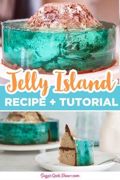 Ocean Cakes, Beach Cakes, Cake Decorating Techniques, Cake Decorating Tutorials, 3d Jelly Cake, Island Cake, Jello Cake, Mermaid Cakes, New Cake