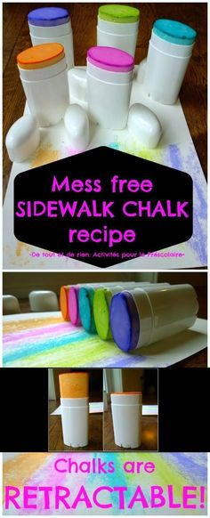 Make sidewalk chalk in deodorant dispensers for mess-free drawing. http://de-tout-et-de-rien-caroline.blogspot.ca/2014/02/mess-free-sidewalk-chalk-recipe-recette.html?m=1  |   Genius Hacks Guaranteed To Make A Parent's Job Easier