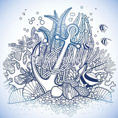 Anchor and coral reef drawn in line art style. Ocean fish and plants in blue colors. Coloring book page design.