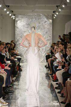 Neyteri Molded crystal corset over white silk crepe skirt