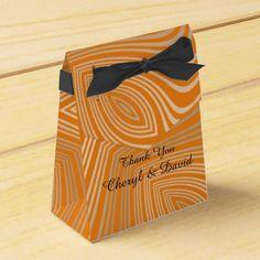 Stylish Classy Orange Gold Swirly Mix Personalized Favor Box