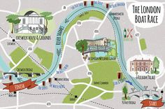 Map illustration of the route & surrounding area in West London of the annual boat race between Oxford and Cambridge.
