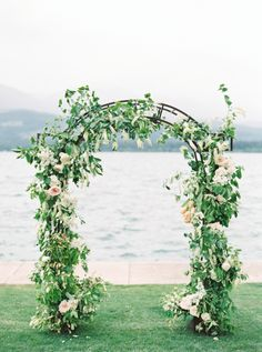 Greenery and floral wedding arch: http://www.stylemepretty.com/little-black-book-blog/2016/11/21/elegant-mountain-vineyard-wedding-inspiration/ Photography: Rebecca Hollis - http://www.rebeccahollisphotography.com/