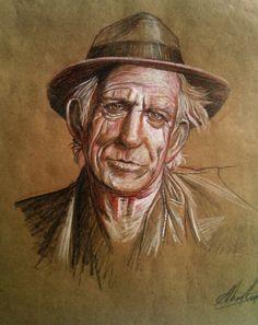 Keith Richards drawing by Albert Cordero