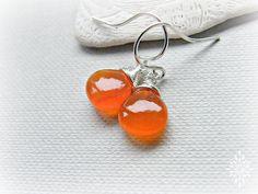 Carnelian earrings, dainty earrings, petite mandarin earrings, bright orange carnelian silver earrings, carnelian drop earrings, smooth
