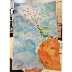 Pequeno Príncipe da Antônia  _12 anos | aquarela, lápis de cor e acrílica | #cursododaltoncrianças