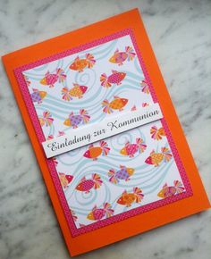 Einladung zur Kommunion/Konfirmation in Orange mit pink.