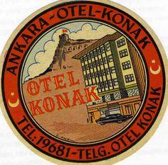 Hotel Konak - Ankara, Turkey (Luggage Label) by Artist Unknown   Shop original vintage luggage labels online: www.internationalposter.com #luggagelabels