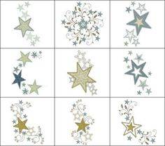 """Festive Applique Stars"" These 10 designs will make a beautiful addition to pillows, quilts, totes and jeans! Great in metallics!"