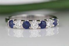0.85 Carat Diamond and Blue Sapphire Wedding Band by MNektaStudio