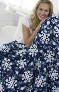 Dusty Snowflake Throw Free Crochet Pattern from Red Heart Yarns