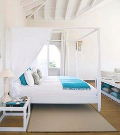 Beautiful White and Turquoise Bedroom