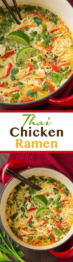 Chicken Ramen - this is AMAZING! Easy to make and seriously so good! Definitely add the peanuts!Thai Chicken Ramen - this is AMAZING! Easy to make and seriously so good! Definitely add the peanuts! Asian Recipes, New Recipes, Soup Recipes, Chicken Recipes, Dinner Recipes, Cooking Recipes, Healthy Recipes, Thai Chicken Soups, Healthy Breakfasts