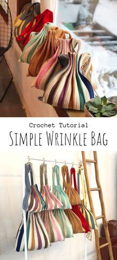 Crochet Simple Wrinkle Bag Crochet Geek, Crochet Tote, Crochet Purses, Crochet Stitches, Free Crochet, Knit Crochet, Crochet Patterns, Crotchet, Diy Projects Design