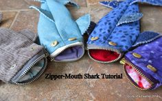 Quilts of a Feather - Zipper Mouth Shark Tutorial can also make into a whale