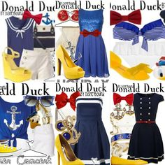 Here is a six outfit collage of cute donald duck outfits. Duck Halloween Costume, Daisy Costume, Halloween Ideas, Disney Bound Outfits, Disney Inspired Outfits, Disney Style, Donald Duck Costume, Autumn Fashion For Teens, Disney Cosplay