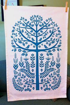 tree of life tea towel by Dutch Door Press. Tree Of Life Art, Tree Art, Scandinavian Folk Art, Tea Towels, Fiber Art, Screen Printing, Illustration Art, Fabric, Prints