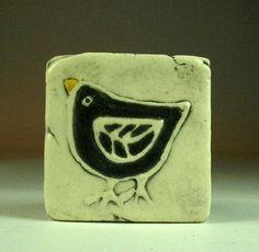 Black bird 2x2 tile magnet by ceramiquecote on Etsy,