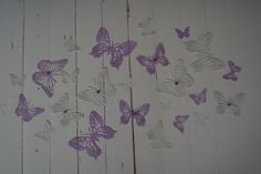 3D paper monarch butterflies of textured card stock wall art in purple/dusty grey --- As weddingdecor or let them fly around in a nursery