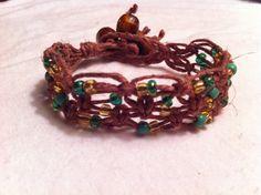 Green and Brown Beaded Hemp Bracelet Hemp Jewelry by JleeGypsy, $4.50