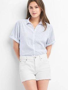 Stripe roll cuff shirt