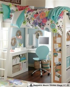 An organized, colorful and functional dorm room.