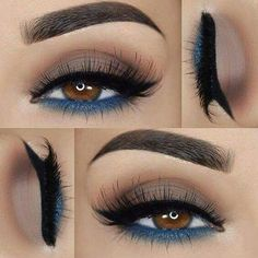 eyeshadow and brushes makeup with glasses eyeshadow colors makeup without eyeliner makeup prom makeup forever makeup tutorial james charles makeup tutorial for green eyes Blue Makeup, Makeup For Brown Eyes, Skin Makeup, Eyeshadow Makeup, Eyeshadow Ideas, Eyeshadows, Blue Eyeshadow For Brown Eyes, Eyeshadow Palette, Yellow Eyeshadow