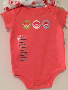 Sold NEW + tagged. Cheeky Sock Monkey #Onesies 2 PC Set 100% Cotton NWT 0-3 MOS Peach White Pink #BabyStarters #gift #newmom