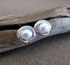 Freshwater Pearl Stud Earrings - Sterling Silver Wire Swapped Pearl Post Earrings