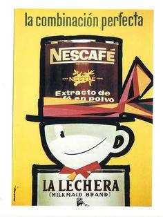 Recuerda conmigo: Publicidad 1. 40 carteles Coffee Advertising, Vintage Advertising Posters, Old Advertisements, Vintage Ads, Vintage Posters, 80s Ads, Poster Ads, Nescafe, Vintage Coffee