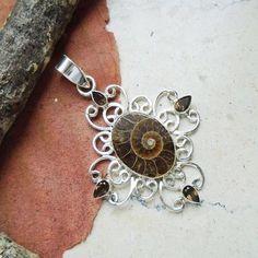 Ammonit Fossil & Rauchquarz, Stern, Anhänger, 925 Sterling Silber in Uhren…