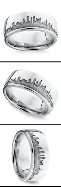 Display your dedication to the city that never sleeps with this stylized 8 mm cobalt men's wedding band featuring New York's iconic skyline.