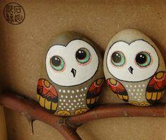 手绘情侣猫头鹰 趣味 萌 创意礼物 石趣部落原创手绘石头 情人节-淘宝网