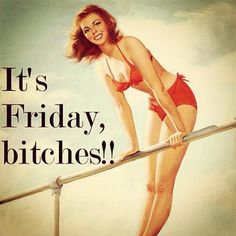 It's Friday bitches! -- vintage retro funny quote - follow joannesam