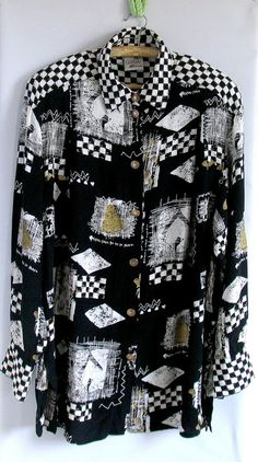 80s GEOMETRIC graphic print sheer blouse / black white colorblock striped ARCHITECTURAL novelty button up granny chic blouse on Wanelo