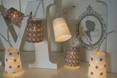 Lichterketten - 20er Strom-Lichterkette-*cremeweiß-grau* - ein Designerstück von Atelier-Lumiere bei DaWanda